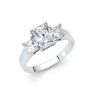 14k White Gold 2CT Emerald Cut Engagement Ring
